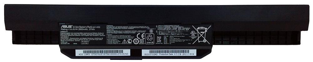 Аккумуляторная батарея для ноутбука ASUS A32-K53 (A41-K53) K43, P43, K53, K84, P53 14.4V 2600mAh, 37Wh