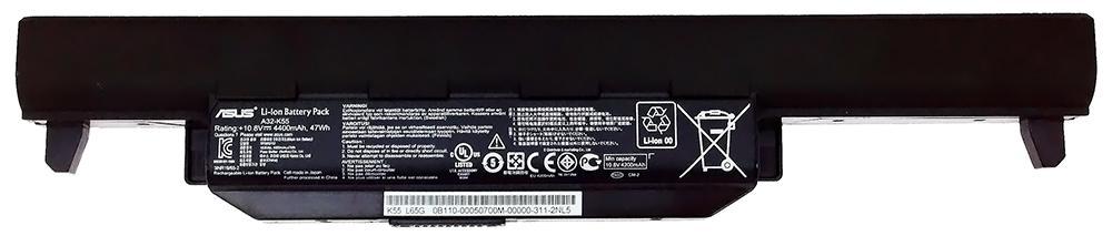 Аккумуляторная батарея для ноутбука ASUS A32-K55 X45, X55, X75, K45, K55, K75, P45, P55 10.8V 4400mAh, 47Wh