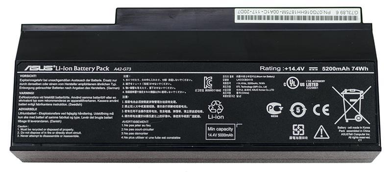 Аккумуляторная батарея для ноутбука A42-G73 G53, G73, VX7 14.4V 5200mAh, 74Wh