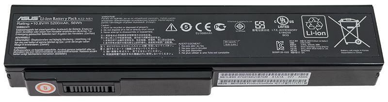 Аккумуляторная батарея для ноутбука ASUS A32-N61 N43, N53, B23, B43, N61, M50, X55SV, M60,G60, VX5 4400mAh,48Wh 10.8V