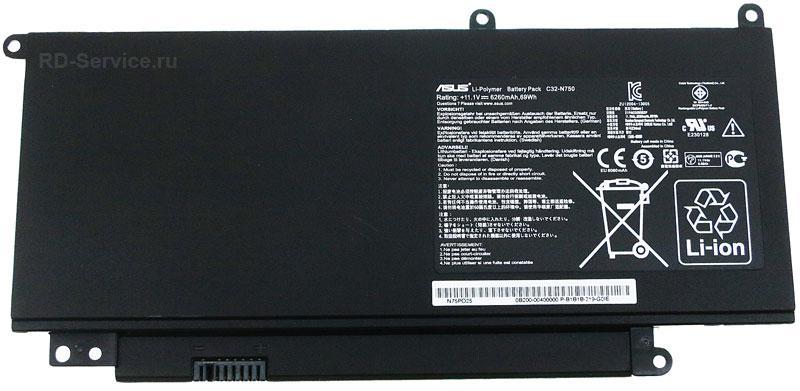 Аккумуляторная батарея C32-N750 для ноутбука  Asus N750 11,1v 6260mAh 69wh