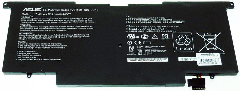 Аккумуляторная батарея для ноутбука Asus UX31A, UX31E C22-UX31 7,4v 6840mAh 50wh