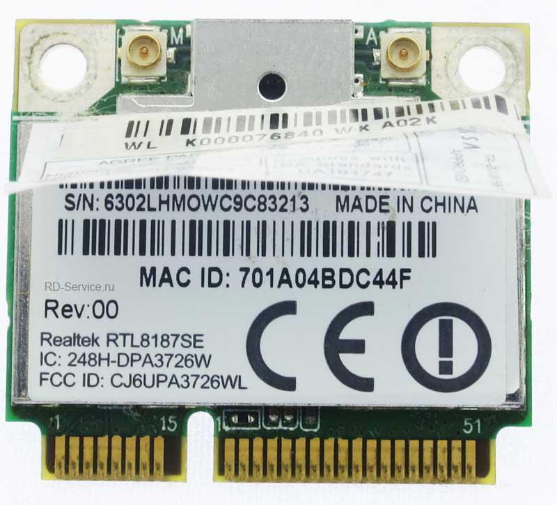WiFi модуль для ноутбука  Realtek RTL8187SE