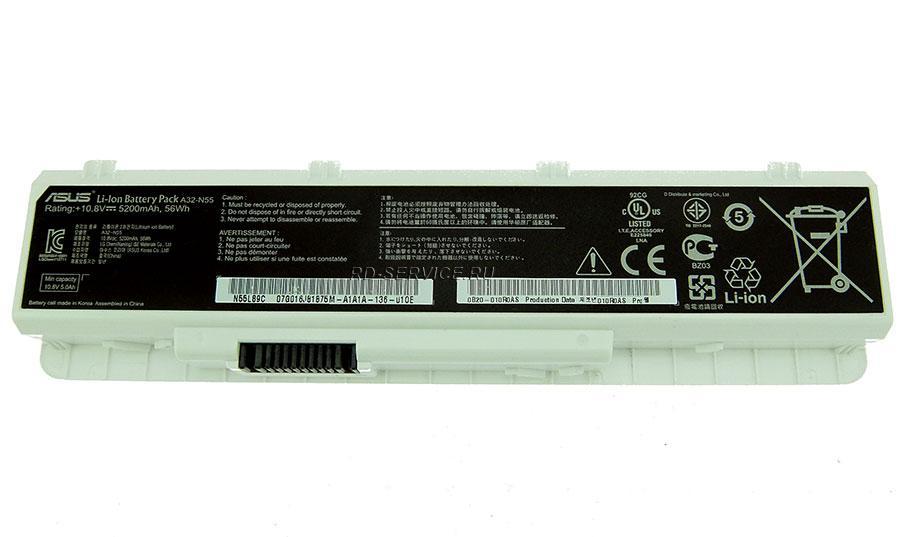 Аккумуляторная батарея A32-N55 для ноутбука  Asus 10,8v 5200mAh, 56Wh белый
