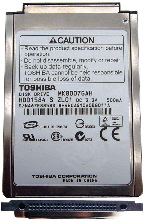 Жесткий диск для ноутбуков 1.8 80GB Toshiba MK8007GAH